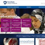 Penn State College of Medicine's new website prominently spotlights both the education and research missions of the College. A screenshot of the new home page is seen, with text saying explore educaiton at left and text saying explore research at right. Links to various sections of the site appear in purple boxes atop a background image of a female student at the College's July 2016 White Coat Ceremony. News items from the College are visible below this image, and the Penn State College of Medicine logo appears in the top left.