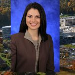 Jennifer Meka, PhD, MSEd, has been named inaugural director of Penn State College of Medicine's new Woodward Center for Excellence in Health Sciences Education. Meka is pictured wearing a dark jacket and tan blouse, standing in front of a blue photo background. Her photo is superimposed on an image of the Penn State College of Medicine crescent.