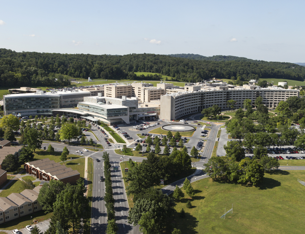 Aerial view of Milton S. Hershey Medical Center and Penn State College of Medicine campus, from University Drive vantage point.