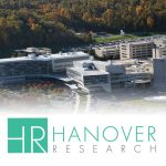 The logo of Hanover Research (the letters HR in white on a teal background, with the words Hanover Research in teal on white to the right) and the logo of Penn State College of Medicine's Research Concierge Service (a stylized lightbulb made from colored circles with scientific symbols inside) are superimposed on an aerial view of Penn State College of Medicine.