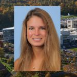 MPH student Megan Litz was named a 2017 William Penn Fellow by Pennsylvania Gov. Tom Wolf. Litz is pictured against a light blue photo background, and her photo is superimposed on an aerial view of Penn State College of Medicine's campus in Hershey, PA.