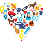 A collage-style drawing depicts a heart made of smaller hearts, hospital personnel, animals, musical instruments and other objects.