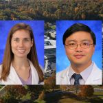 Kathryn Aird, PhD, left, and Kebin Hu, MD, PhD, right, recently joined the Department of Cellular and Molecular Physiology at Penn State College of Medicine. The two are pictured wearing white lab coats on blue photo backgrounds. Their two photos are superimposed on an aerial view of Penn State College of Medicine's campus in Hershey, PA.
