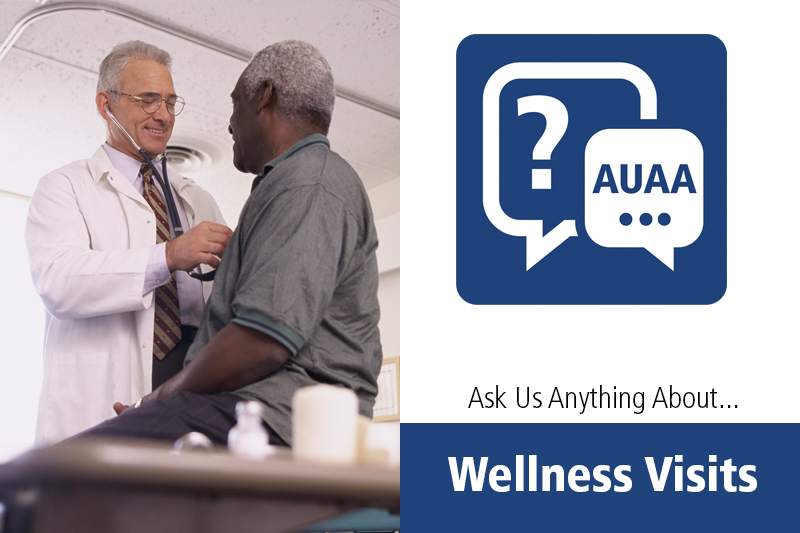 Wellness visits were the topic of a Facebook Live presentation with Dr. Bill Curry of Penn State Health Milton S. Hershey Medical Center. The image depicts a doctor examining a patient with a stethoscope at left, and a logo of two speech bubbles at right, one with a question mark and the other with the letters AUAA.