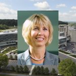 A stock photo of Kimberly Lansford in professional attire, superimposed over a wide aerial shot of the Medical Center - College of Medicine campus.