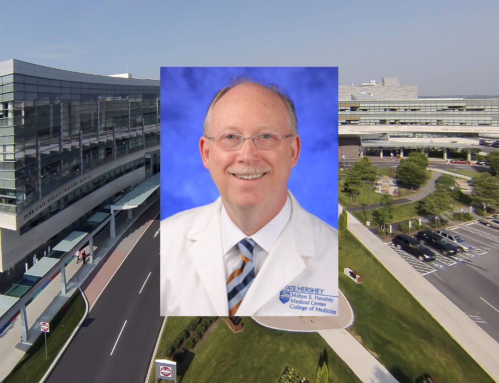 A stock photo of Dr. Jeffrey Kaiser, wearing a white coat, superimposed over an aerial photo of Hershey Medical Center.
