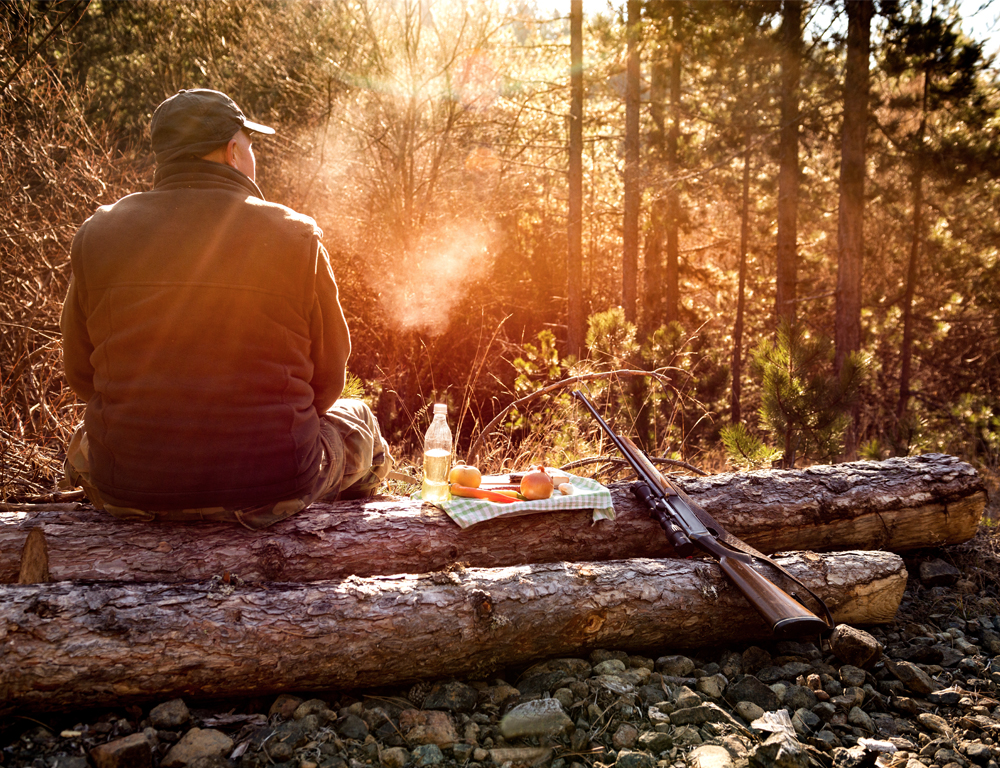 A rear view of a man wearing a green vest and hat, sitting on a log. Next to him is a small tray with a drink and some fruits and vegetables. A shotgun is leaning against the log. The man is looking into a wooded area.