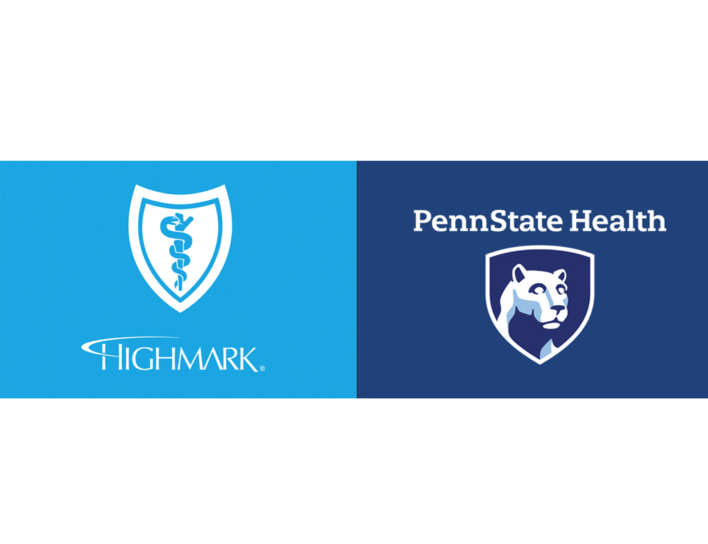 The Highmark Health logo and Penn State Health logo appear side by side, on a white backdrop.