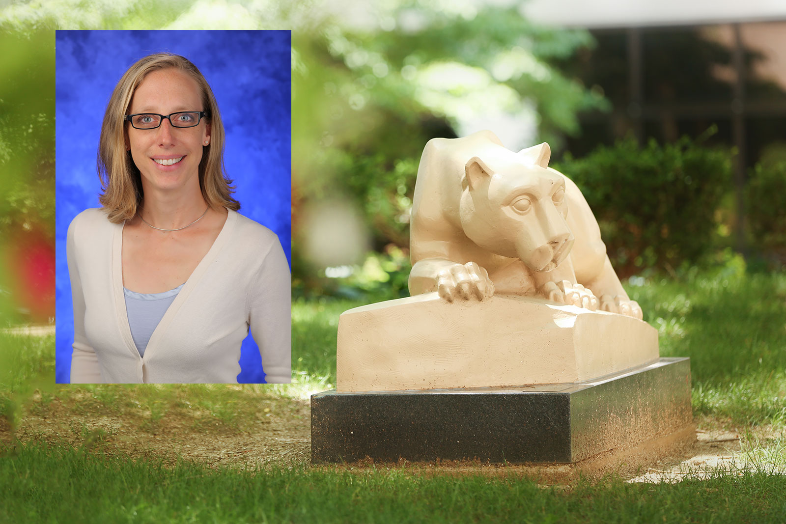 Nadine Hempel, PhD, Associate Professor of Pharmacology at Penn State College of Medicine and Penn State Cancer Institute member, recently received an equipment award from Agilent Technologies. A photo of Hempel, wearing a white blouse and glasses and standing in front of a blue photo background, is superimposed on an image of the College's Nittany Lion mascot statue outdoors, with trees and flowers visible in the background.