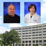 Drs. Robert Levenson and Leslie Parent, co-directors of Penn State College of Medicine's MD/PhD Medical Scientist Training Program, were recently named Fellows of the American Association for the Advancement of Science (AAAS). The professional photos of both Levenson and Parent are superimposed on the top left of a photo of the College's Crescent building facade, with grass visible below it.
