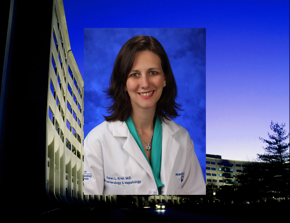 A white coat photo of Dr. Karen Krok, superimposed over an image of the signature Crescent of Hershey Medical Center - Penn State College of Medicine.
