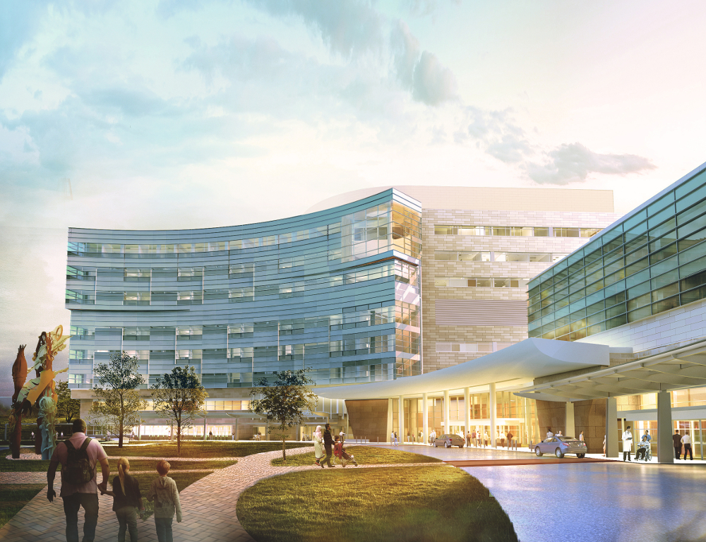 An artist's rendering of the renovated Penn State Children's Hospital, with three additional floors. The vantage point is the front of the building, from near the Cancer Institute.