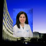 A photo of Dr. Emmanuelle Williams wearing a white physician's coat, superimposed over a photo of Hershey Medical Center's signature Crescent-shaped building.