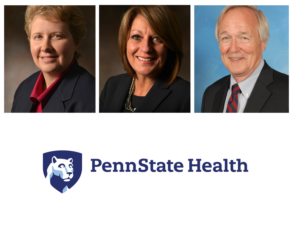 The photos of three people -- two women and one man -- are side-by-side. The Penn State Health logo appears beneath them.