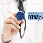 "A physician in a white coat holds the head of a stethoscope toward the camera, revealing a Penn State Health logo. The words ""March 30th is National Doctors' Day are on the right-hand side."