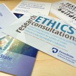 """A promotional image for Penn State Clinical and Translational Science Institute shows a number of pamplets and cards advertising CTSI services fanned out on a table. The words """"Ethics Consultations"""" are visible large on one of the cards."""