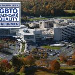 An aerial view of Penn State Health Milton S. Hershey Medical Center in Hershey, PA, is seen with the logo for the Human Rights Campaign 2018 Healthcare Equality Index superimposed at the top let. The logo features the words Healthcare Equity Index, Human Rights Campaign Foundation 2018, LGBTQ Healthcare Equality, Top Performer.