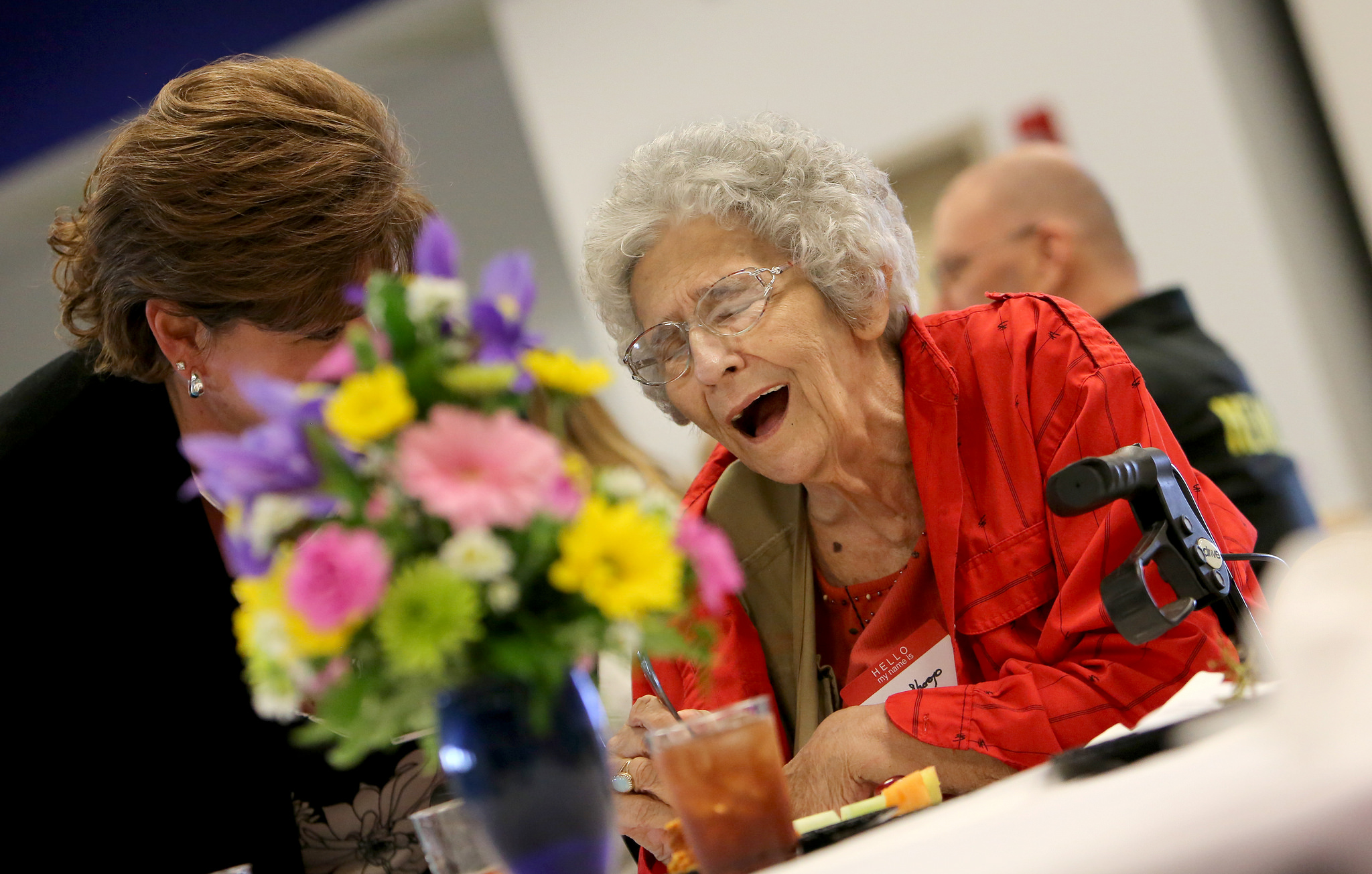 LVAD patient Mary Shoop jokes around during Penn State Health Milton S. Hershey Medical Center's annual LVAD celebration at the University Conference Center on Friday, April 27, 2018.