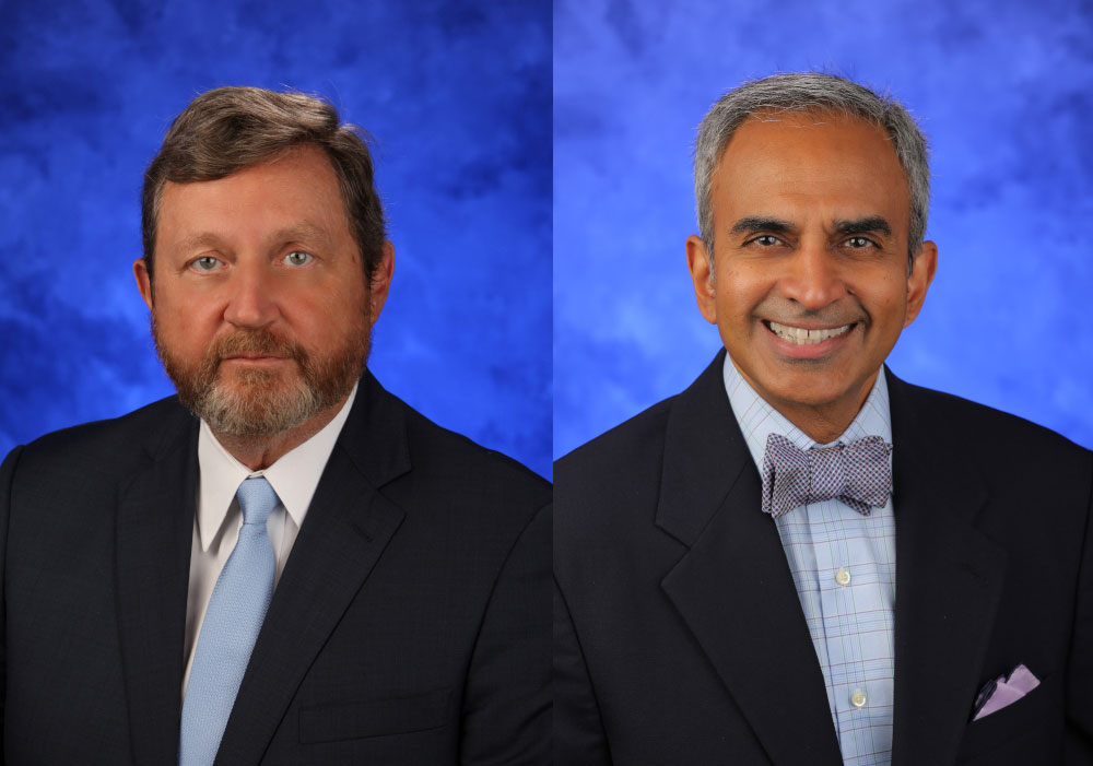 Side-by-side headshots of Dr. Robert Harbaugh and Dr. Krish Sathian.