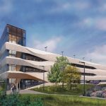 An artist's rendering of a five-story parking garage. Trees and some parked cars are in the foreground.