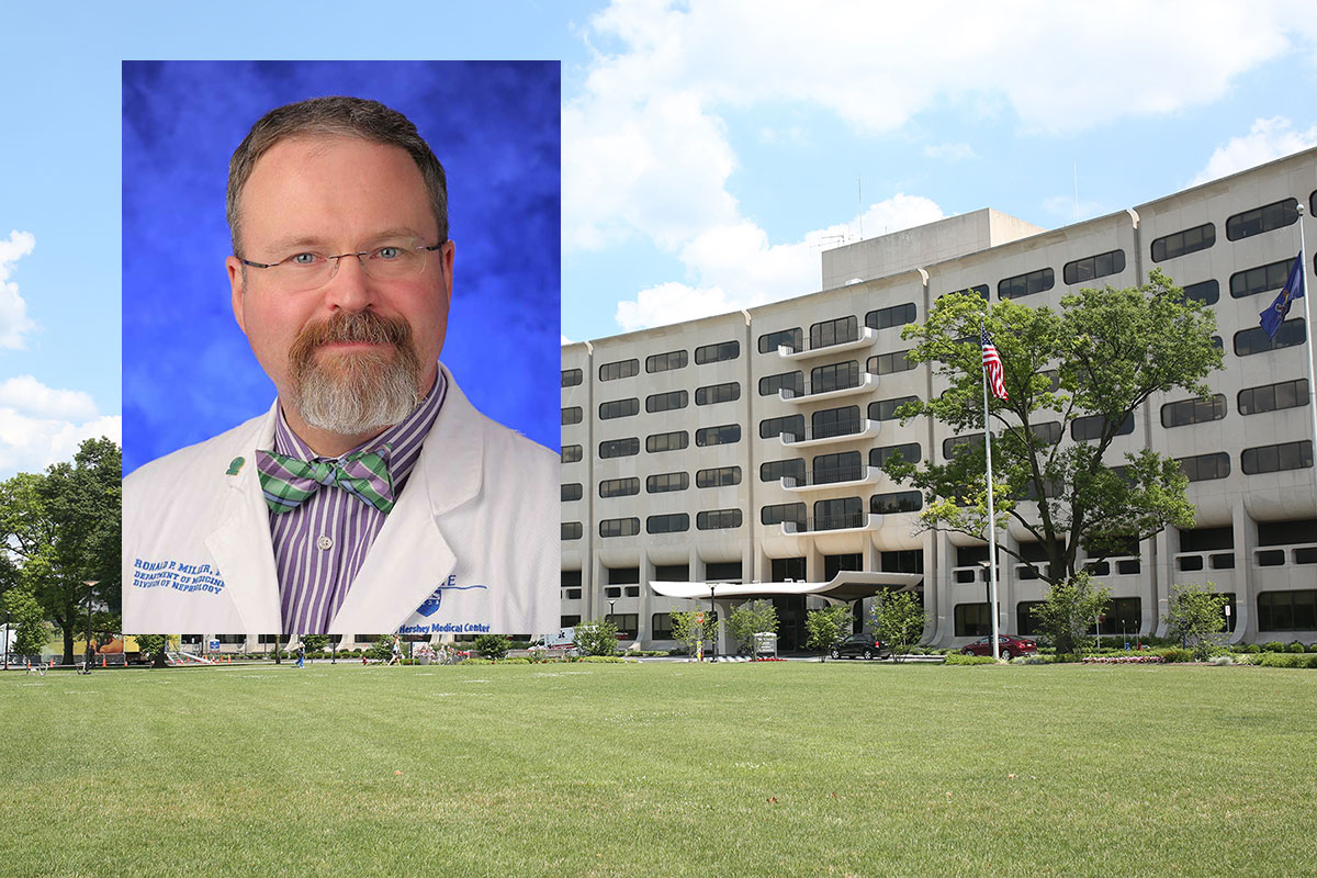 Dr. Ronald Miller, a nephrologist at Penn State Health Milton S. Hershey Medical Center, is the July winner of Penn State College of Medicine™s Exceptional Moments in Teaching program. A head-and-shoulders professional photo of Miller wearing a medical coat is seen superimposed on a picture of the front of the College' Crescent Building in Hershey, PA.