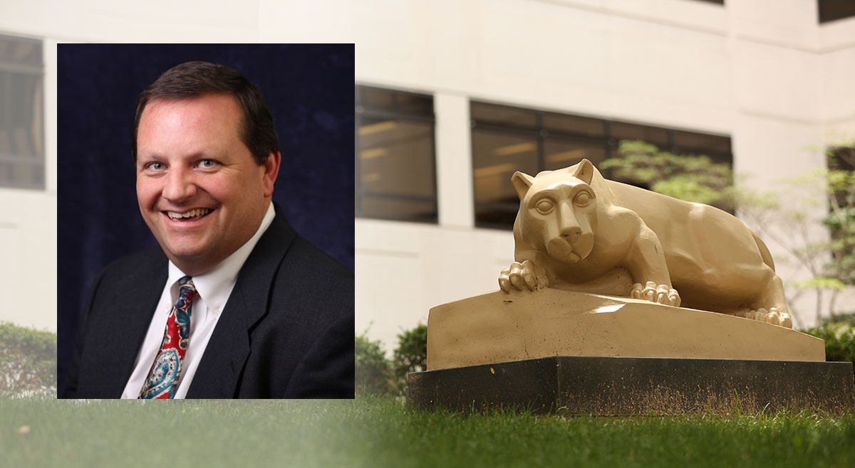 Richard Bagley is pictured in a professional headshot, and that photo is superimposed on a photo of the Nittany Lion statue.