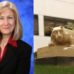 Mary Lou Kanaskie was recently named director of the Office of Nursing Research and Innovation at Penn State Health Milton S. Hershey Medical Center. A professional photo of Kanaskie is seen superimposed on a photo of Penn State College of Medicine's Nittany Lion statue.