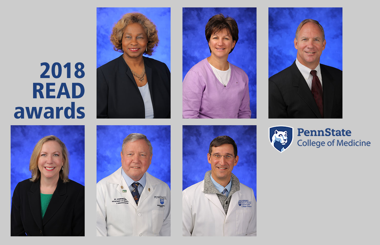 Recipients of the 2018 READ Awards given by Harrell Health Sciences Library are, from top left, Lynette Chappell-Williams, Jennifer Fenstermaker, David Gater Jr., Eileen Moser, Edward Schwentker and Mark Stephens. Professional head-and-shoulders photos of all six recipients are set on a plain-colored background with the text
