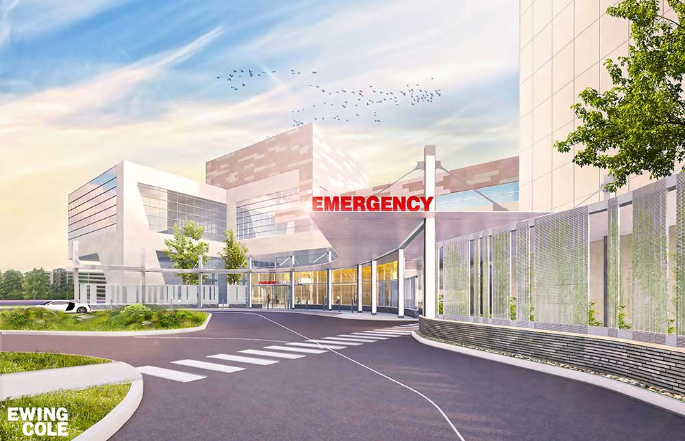 A rendering of the expanded Emergency Department at Hershey Medical Center.