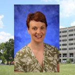 A head-and-shoulders professional photo of Dr. Kirsteen Browning is seen superimposed on a photo of Penn State College of Medicine's Crescent building in Hershey, PA.