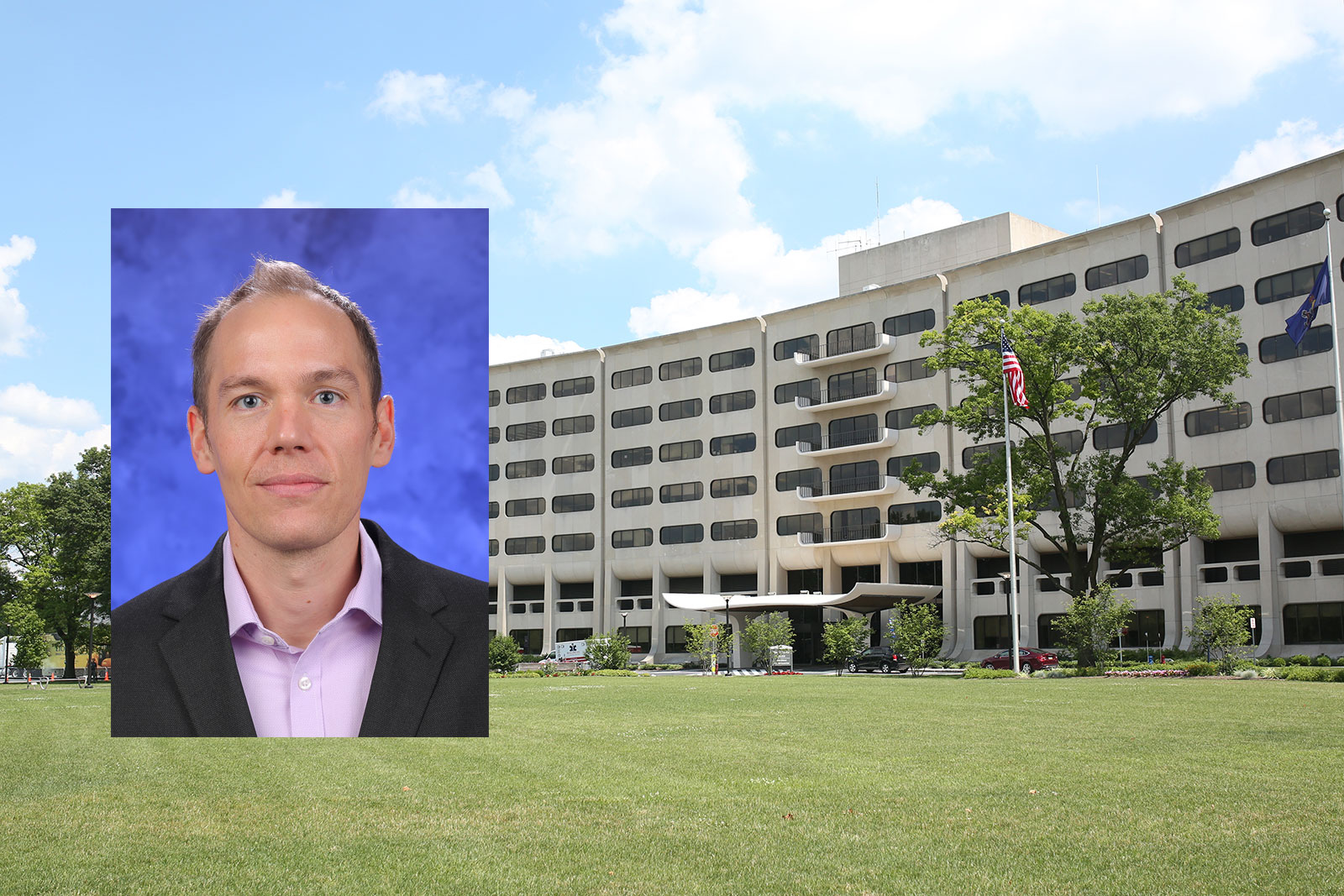 A head-and-shoulders professional photo of Dr. Guy Townsend is seen superimposed on a photo of Penn State College of Medicine's Crescent building in Hershey, PA.