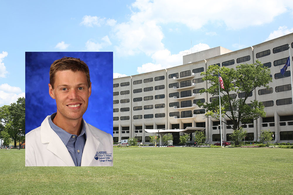 A head-and-shoulders professional photo of Dr. Steven Hicks is seen superimposed on a photo of Penn State College of Medicine's Crescent building in Hershey, PA.