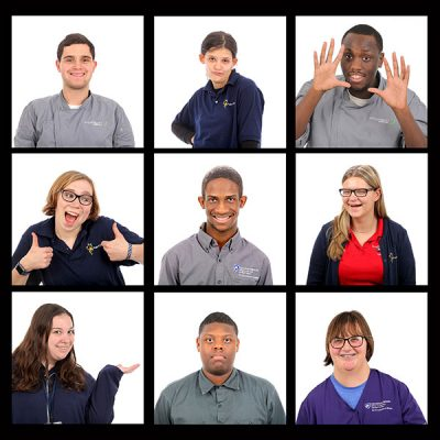 Members of the Project Search Class of 2018 at Penn State College of Medicine are shown in a square format, with three photos in three rows. Each student strikes a pose or makes a face. Bryce Boyer smiles broadly, Cheyanne Wilson puts her hand on her hip and purses her lips, James Silver fans his hands out on either side of face, Ava Pyles smiles and gives a thumbs up with each hand, Ethan Parrish smiles, Marissa Nice looks sideways and laughs, Emily Swanic smiles and holds up one hand with palm facing upwards, James Morrison look serious and Samantha Brace smiles.