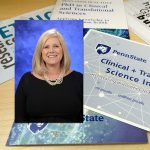 A head-and-shoulders professional photo of Andrea Murray is superimposed on a background image of several brochures and cards advertising Penn State Clinical and Translational Science Institute.