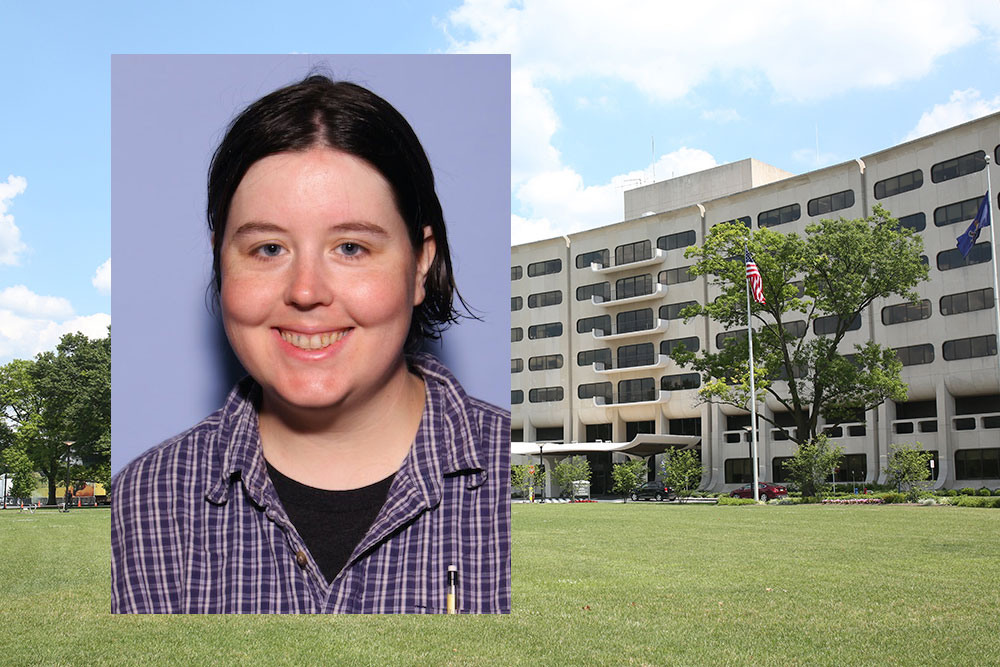 A head-and-shoulders photo of student Erin Tyndall is superimposed on a photo of Penn State College of Medicine's Crescent building in Hershey, PA.