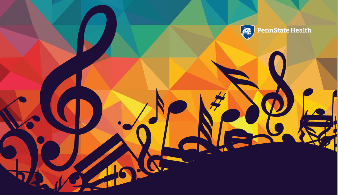Penn State College of Medicine's Great Music Unplugged series is represented by a large group of musical symbols overlaid on a geometric, multicolored background.