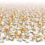 A couple hundred small pill bottles are placed at random, some with lids on, some with lids off. The top of the image fades to white.