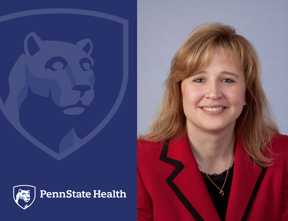 On the left, a Penn State Health logo. On the right, a woman smiles for a photo.