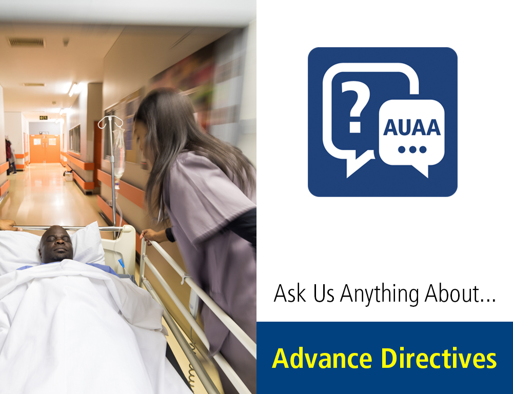 On the left is an image of a nurse pushing a stretcher with patient through a hallway. A graphic with the words