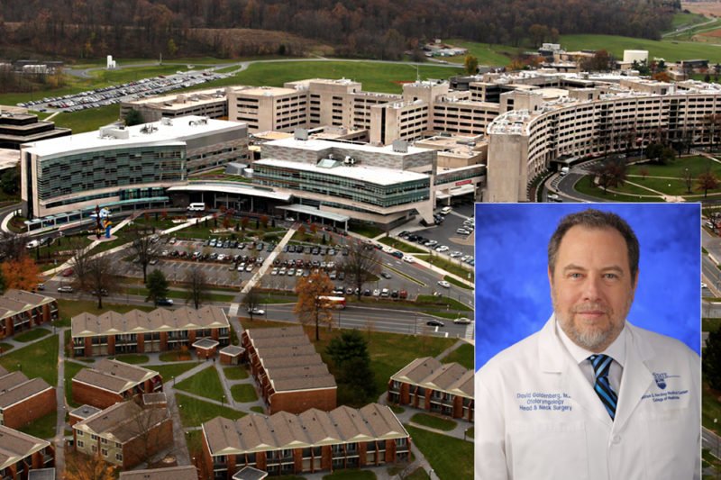 A photo of a man in a doctors coat superimposed over a photo of a health system campus