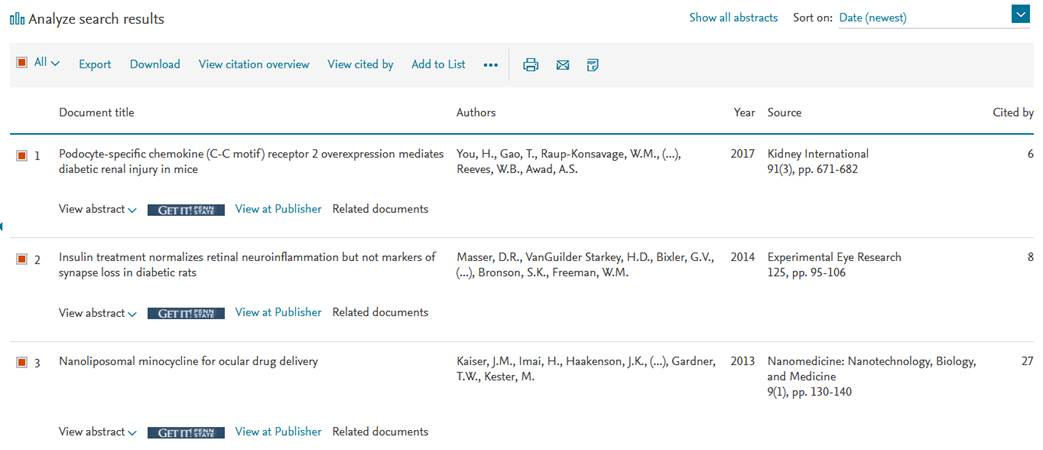 Search results are seen in the Scopus tool.
