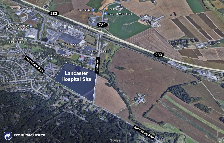 A map designates where a hospital will be built.