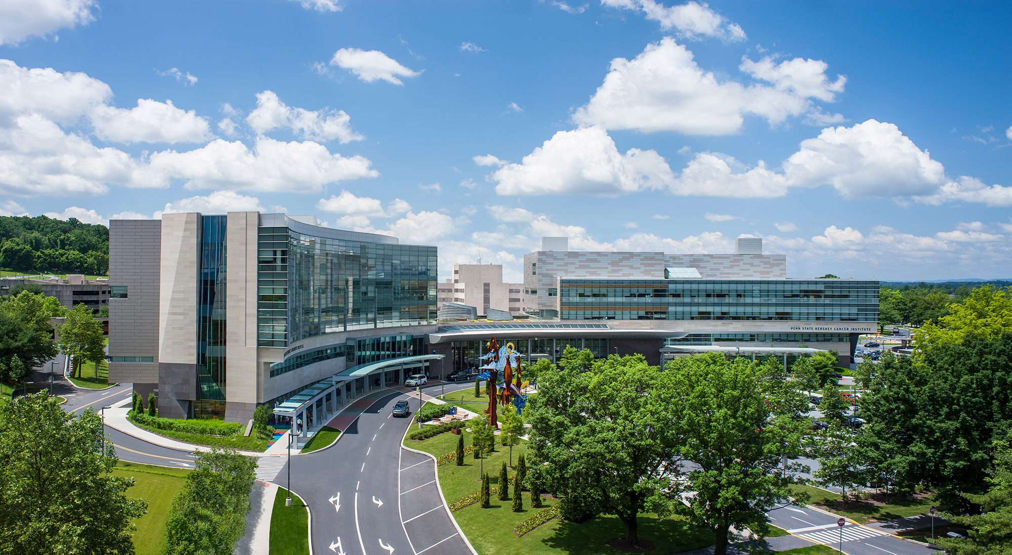 An aerial view of the campus of Penn State Health Milton S. Hershey Medical Center