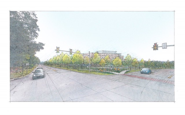 An artist's rendering of a hospital viewed from an intersection