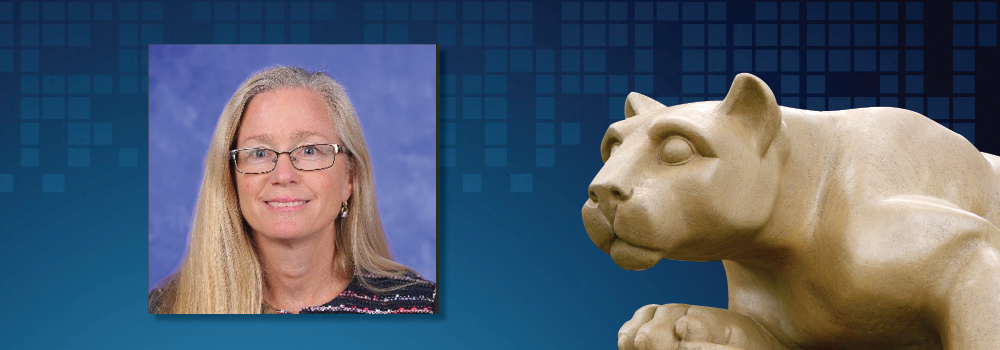 Sue Grigson's image appears with the Penn State Nittany Lion statue.