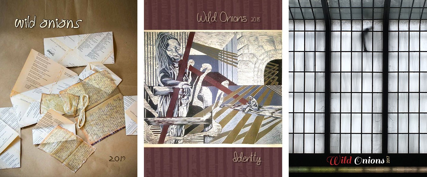 Three covers of past issues of the Wild Onions art and literary journal are pictured, each displaying an image and the journal's title.