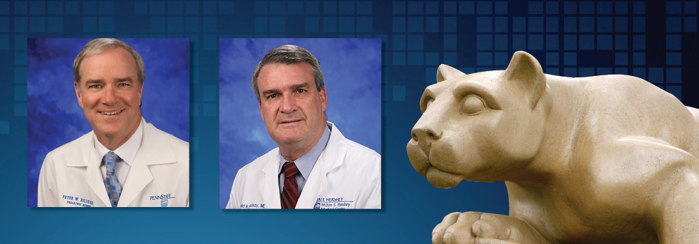 Dr. Peter Dillon and Dr. Donald Mackay are featured wearing lab coats on a background with the Penn State Nittany Lion statute.