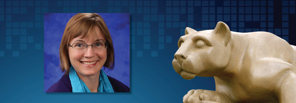 Heather Stuckey, wearing a lab coat, is shown on a background that includes the Penn State Nittany Lion statue.