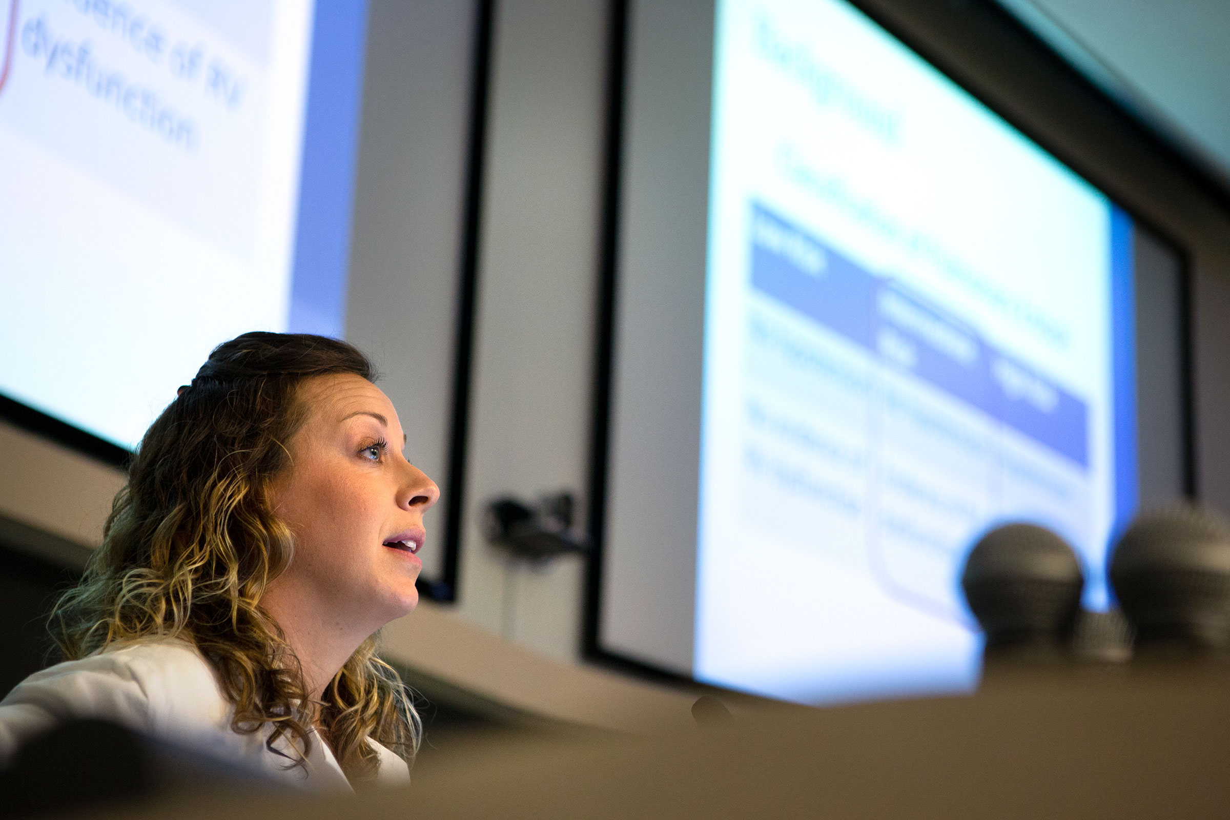 Lisa Domaradzki, a Pulmonary/Critical Care Medicine Fellow, gives an oral presentation at Resident and Fellow Research Day 2019 at Penn State College of Medicine.