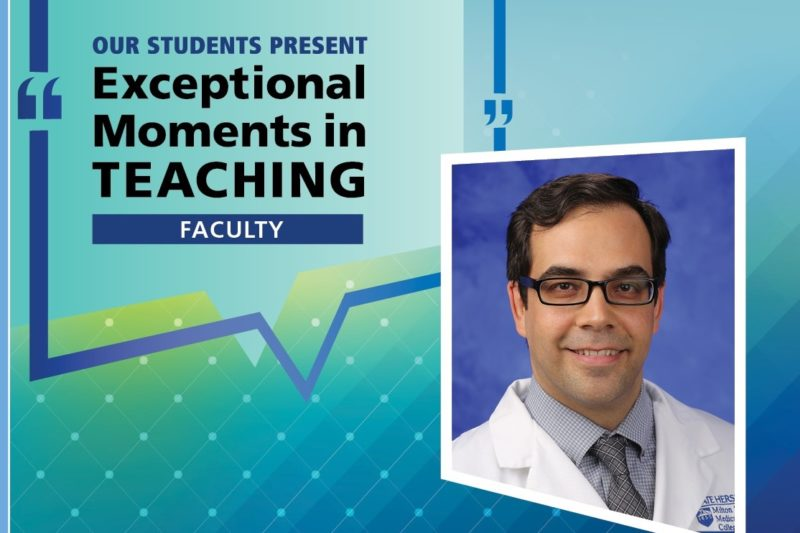 "Dr. Alfredo Bellon smiles in a professional headshot. He is wearing glasses, a shirt, tie and lab coat. His photo is over a background with the text: ""Our students present: Exceptional Moments in Teaching ― Faculty."""
